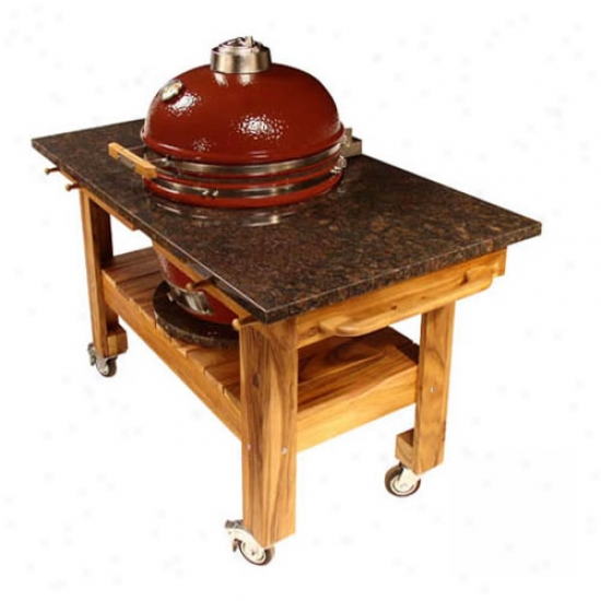 Teak Cart W/ Red Midnight Graanite Top