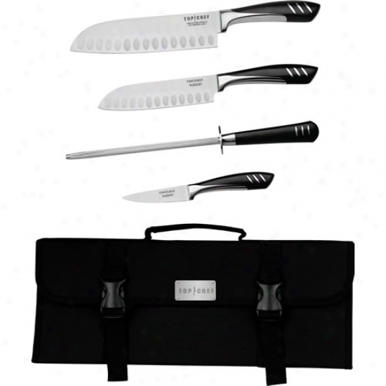 Top Chef 5 Piece Stainless Steel Portable Knife Set
