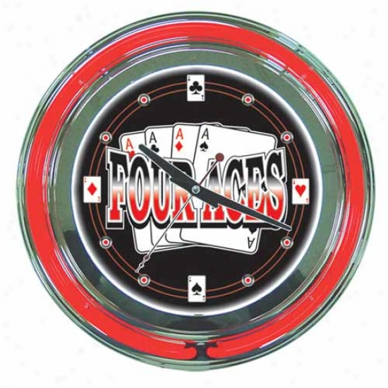 Trademark Global 14  Four Aces Neon Clock