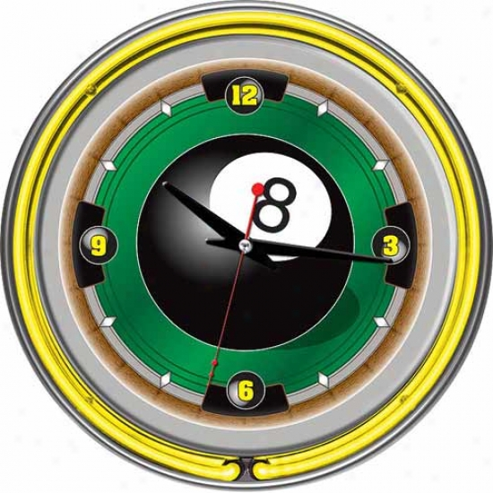Trademark Global 14  Rack'em 8 Globe Neon Wall Clock