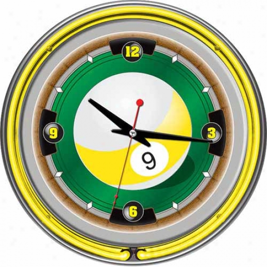 Traxemark Global 14  Rack'em 9 Ball Neon Wall Clock