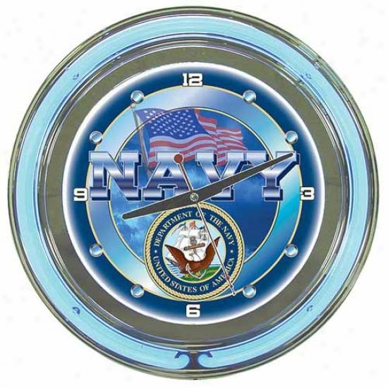 Trademark Global 14  Unitef States Navy Neon Clock