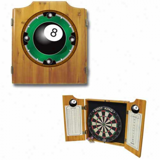 Trademark Global 8 Ball Rack 'em Dart Cabinet With Darts And Board