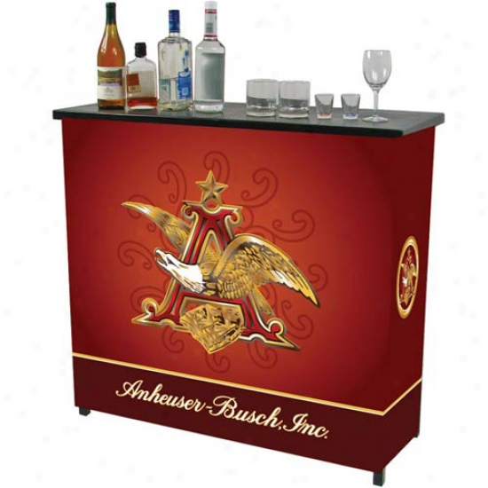 Trademark Global Beer Logo Metal 2-shelf Portable Ba Table With Case