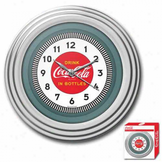 Trademark Global Coca Cola Logo Clock With Chrome Finish