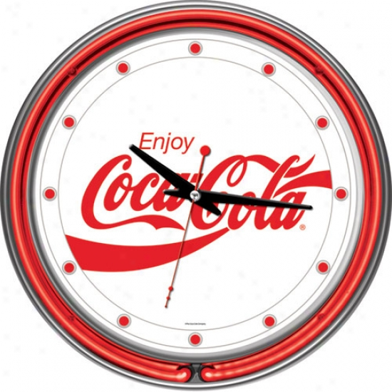 Trademark Global Coca Cola Logo Neon Clock - Two Neon Rings