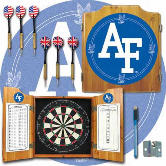 Trademark Global College Logo Dart Cabinet By the side of Darts And Board