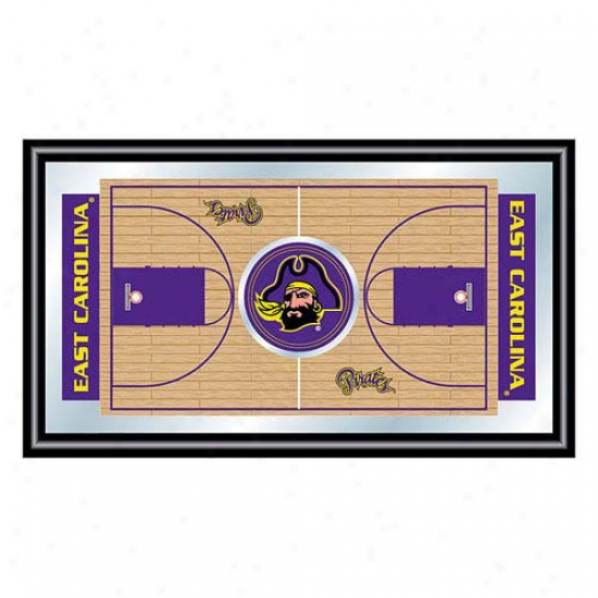 Trademark Global College Logo Framed Basketball Court Mirror
