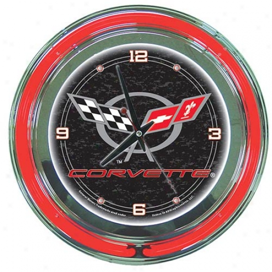 Trademark Global Corvette C5 Neon Clock - 14-inch