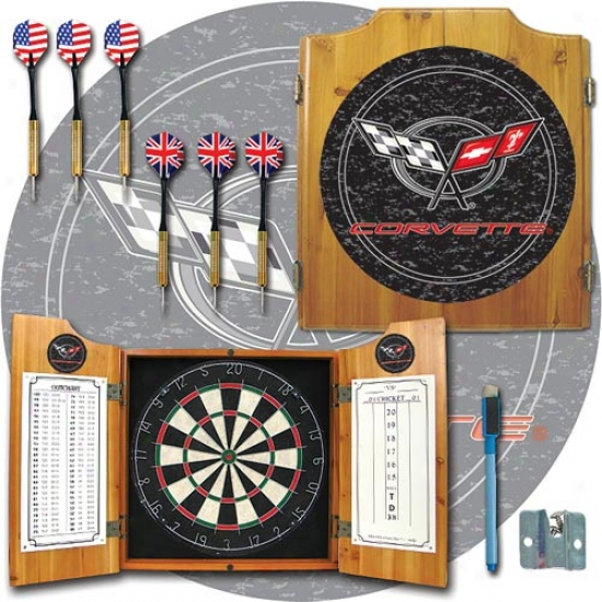 Trademark Global Corvette Logo Dart Cabinet With Darts And Board