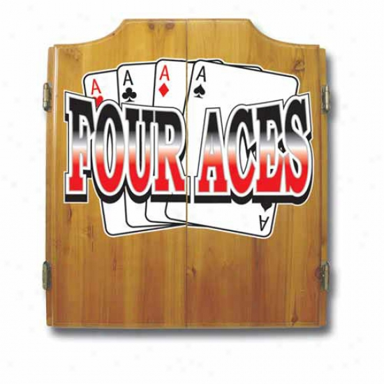 Trademark Global Four Aces Dart Cabinet With Darts And Board