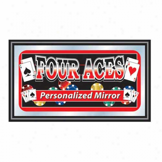 Trademark Global Four Aces Framed Personalized Poker Mirror