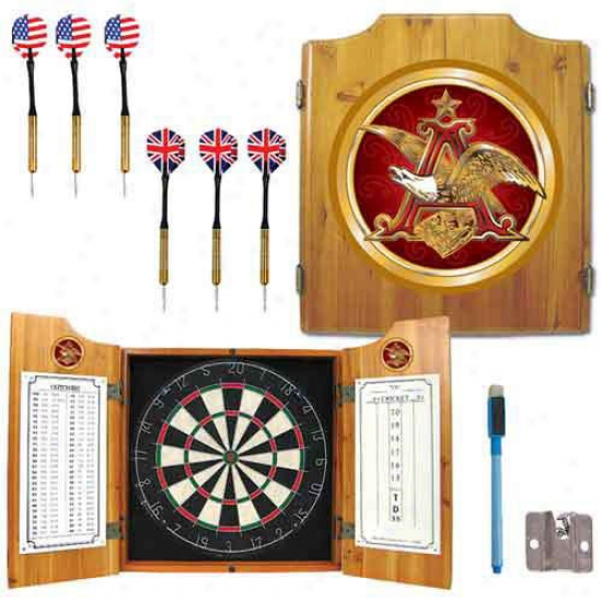 Trademark Global Logo Dart Cabinet With Darts And Board