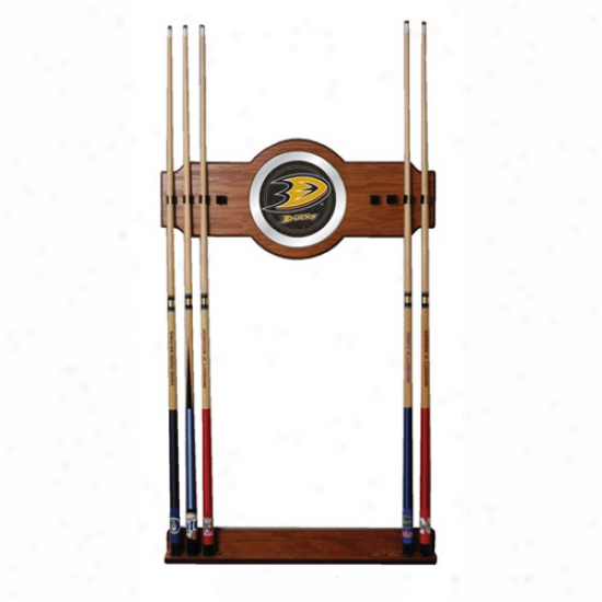 Trademark Global Nhl Team Logo 2-piece Wood And Mirror Wall Cue Rack