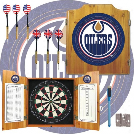Trademark Global Nhl Team Logo Dart Cabinet With Darts And Board