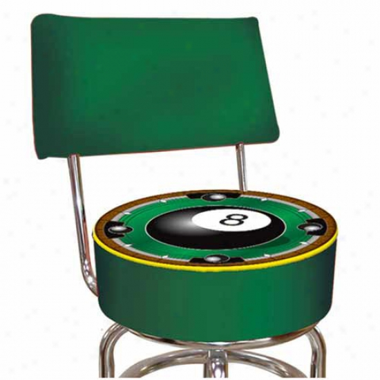 Trademzrk Global Rack'em 8-ball Padded Bar Stool With Back