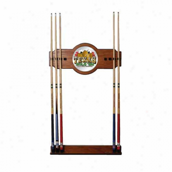 Trademark Global Texas Hold 'em 2 Piece Wood And Mirror Wall Cue Racck