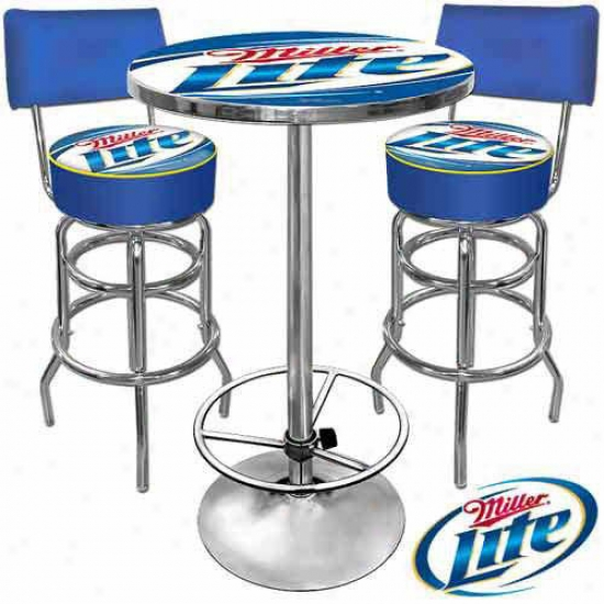 Trademark Global Ultimate Game Room Combo - 2 Beer Logo Bar Stools With Backs And Table
