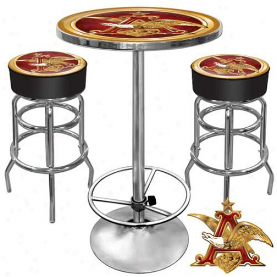 Trademark Global Ultimate Game Room Combo - 2 Beer Logo Bar Stools And Table