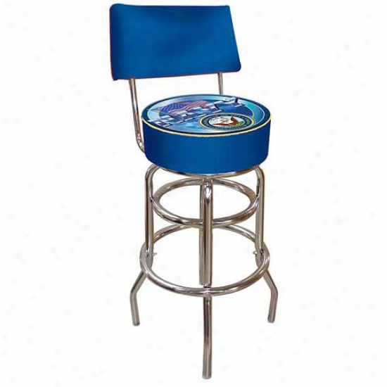 Trademark Global United States Navy Padded Rail Stool Witj Back