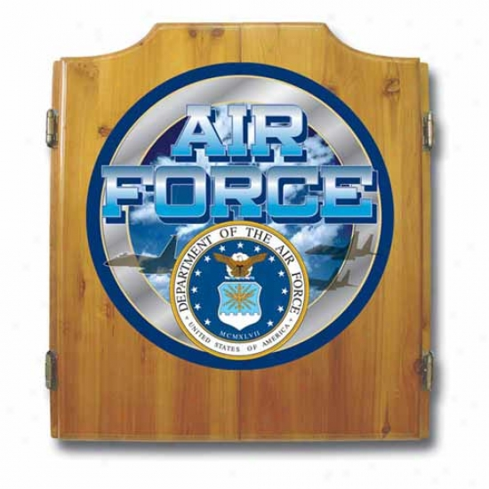 Trademark Global Us Air Force Dart Cabinet With Darts And Board