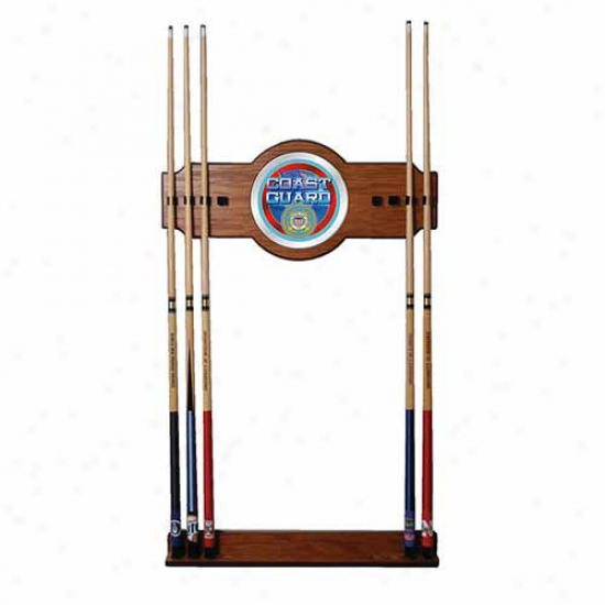 Trademark Global U.s. Coast Guard 2 Piece Wood And Mirr Wall Cue Rack