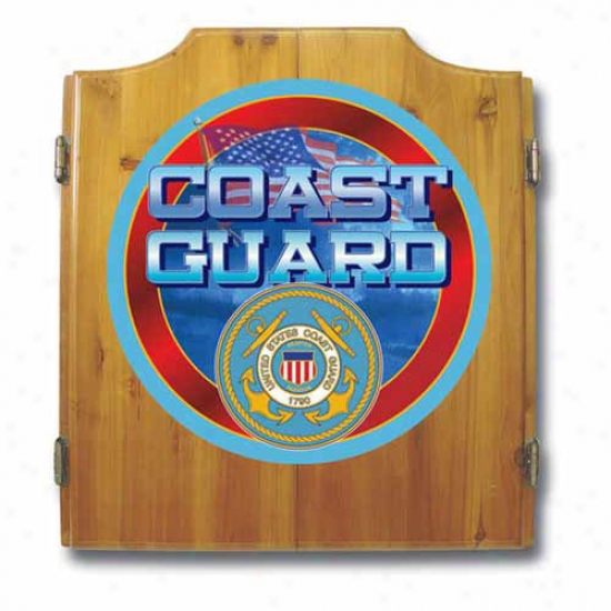 Trademark Global Us Coast Guard Dart Cabinet With Darts And Board