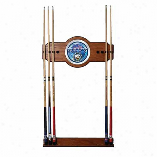 Trademark Global U.s. Navy 2 Piece Wood And Mirror Wall Cue Rack