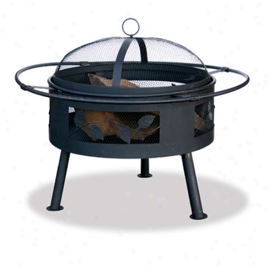 Uniflame 21.6  Wide Aged Bronze Firepit With Leaf Design