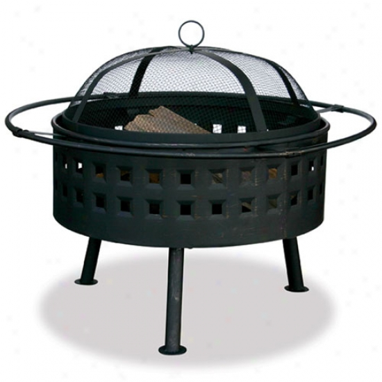 Uniflame 24  Wide Aged Bronze Firebowl Through  Square Design