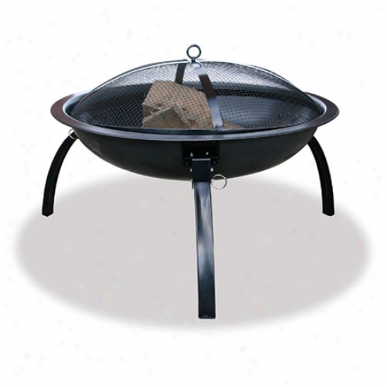 Uniflame 24  Wide Black Outdoor Firepit W/ Carrying Case