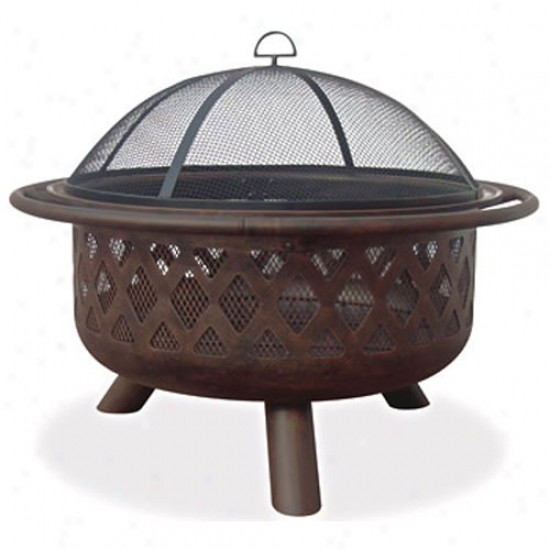 Uniflame Oil Rubbed Bronze Firebowl With Criss-cross Design