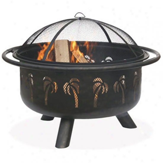 Uniflame Oil Rubbed Bronze Firebowl With Palm Tree Design