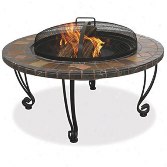 Uniflame Outdoor Fire Pit By the side of Slate Mantel And Copper Accents