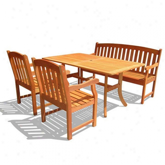 Vifah 4-piece Rectangualr Curvy Dining Set