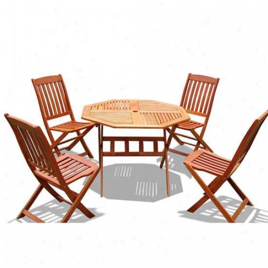 Vifah 5 Piece Outdoor Wood Dining Set