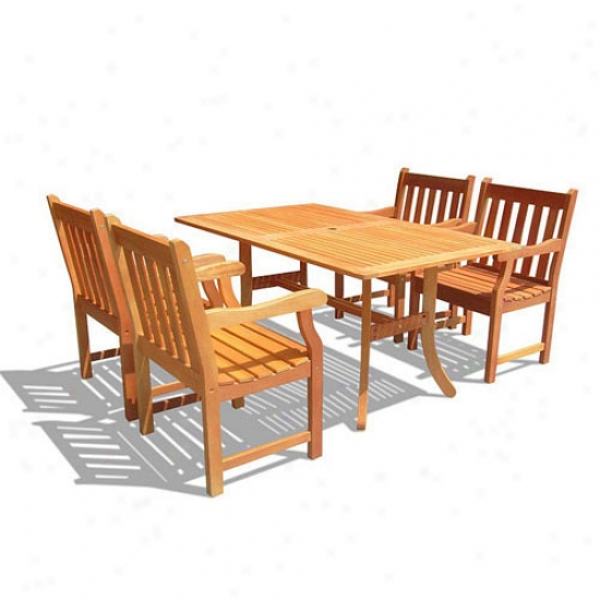 Vifah 5-piece Rectangular Curvy Dining Set