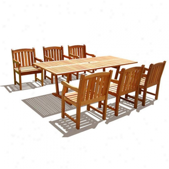 Vifah 7-piece Dining Set With Rectangular Extension Table