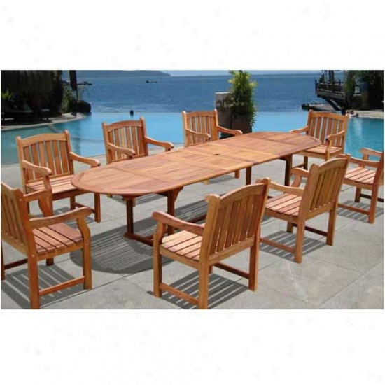 Vifah 9 Piece Vista Dining Set With Marley Chairs
