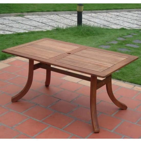 Vifah Atlantic Shorea Wood Rectangular Patio Table
