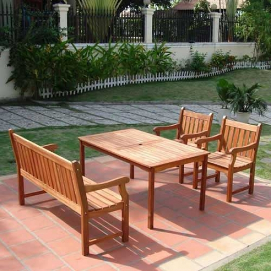 Vifah Balthazar Shorea Four Piece Dining Set