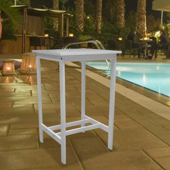 Vifah Bradley Outdoor White Wood Bar Table