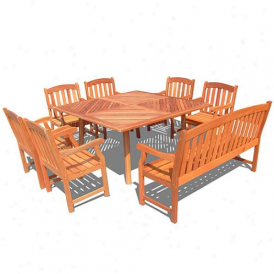 Vifah Outdoor Shorea Eight Piece Dining Set