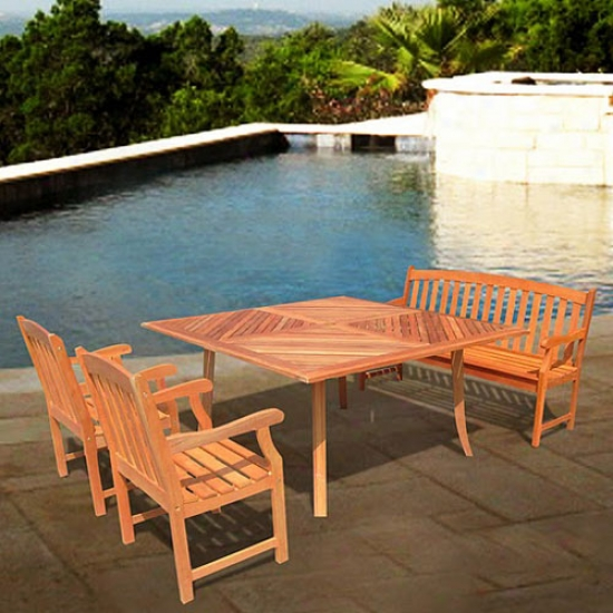Vifah Outdoor Shorea Four Piece Dining Ste