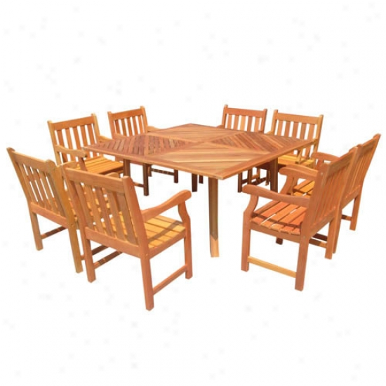 Vfiah Outdoor Shorea Nine Piece Dining Set
