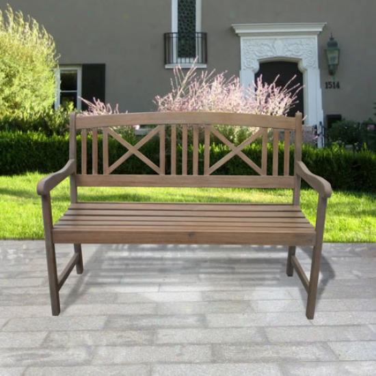 Vifah Renaissance Outdoor Hand-scraped Hardwood Garden Bench