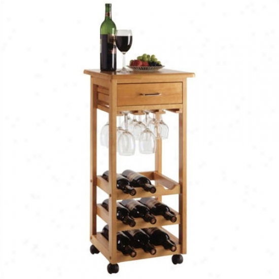 Winsome 9 Bottle Wine Cart - Oak