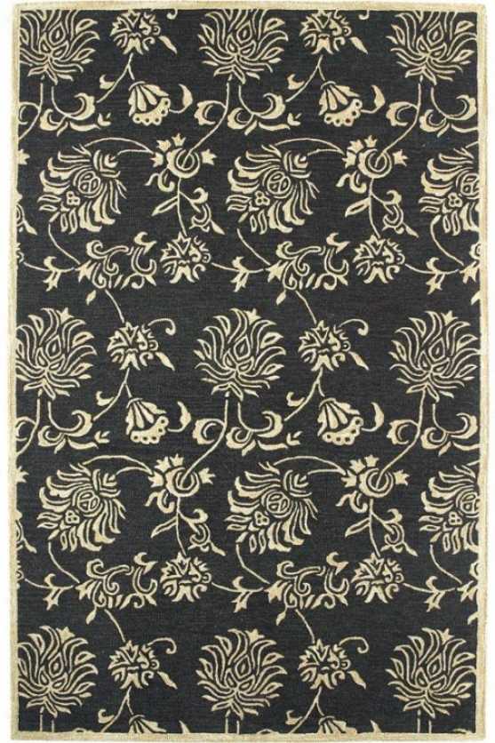 Aeabesque Area Rug - 9'2x12'10, Black