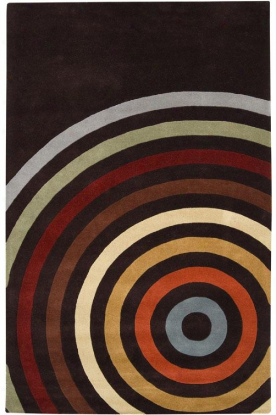 Bullseye Region Rug - 8' Round, Chocolate Brown