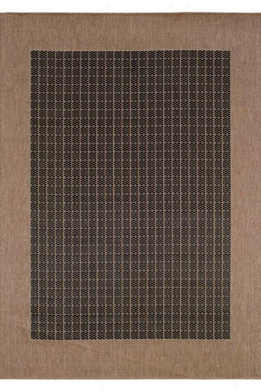 """couristan Checkered Field Arsa Rug - 7'6"""" Square, Black"""